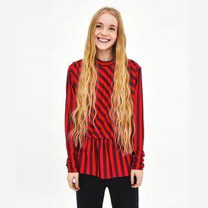 ZARA Striped Blouse with Ruffled Hem